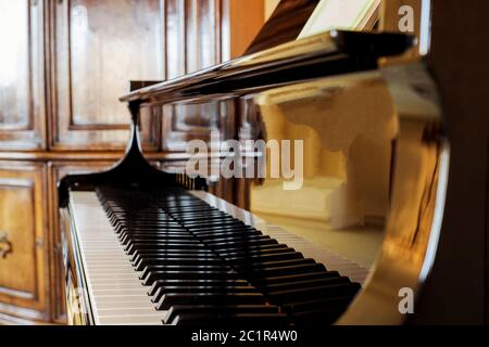Piano geschossen. Piano keys. Musical Instrument klassisches Design Stockfoto
