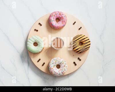 Kaffee Zeit und Donuts Zeit Konzept Stockfoto