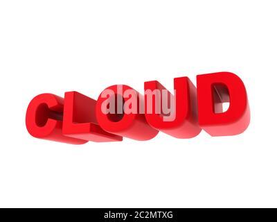 Wolke - Roter Text isoliert auf Weiß. IT-Konzept. - Stockfoto