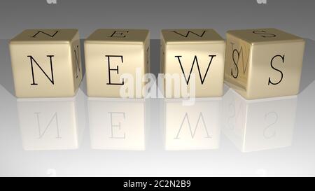 NEWS aus der oberen Perspektive aus goldenen kubischen Buchstaben gebaut, hervorragend für die Konzeptpräsentation. 3D-Illustration