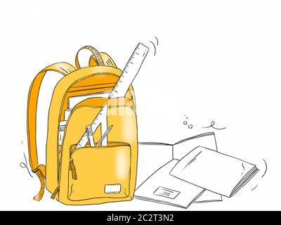 Handgezeichnete Illustration einer Schultasche mit Schreibwaren - Zurück zur Schule Stockfoto