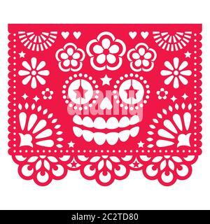 Halloween Papel Picado Design mit La Catrina Totenkopf, mexikanisches Papier ausgeschnittenes Muster - Dia de Los Muertos, Tag der Toten Feier - Stockfoto