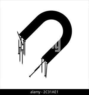 Magnet Zieht Papier Pin Symbol, Office Pin Vektor Kunst Illustration - Stockfoto
