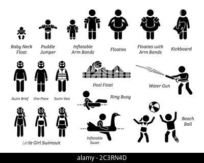 Kinder und Kinder Schwimmhilfen, Sicherheitsausrüstung, Freizeitgeräte und Schwimmbad Wasserspielzeug Stick Figur Symbole Piktogramm. Illustration Clipart - Stockfoto