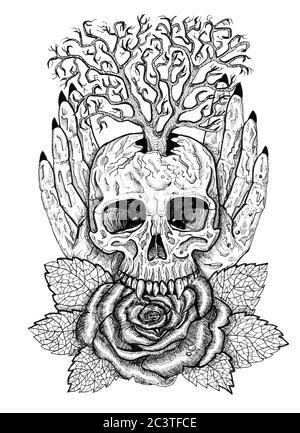 Schwarz-weißes Wikcan-Emblem mit Totenkopf, menschlichen Händen, Rosenblüte und Baum. Esoterische, okkulte und gotische Illustration mit Symbolen des Todes, Halloween - Stockfoto