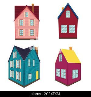Cartoon kleines Retro Landhausdesign auf weißem Hintergrund. - Stockfoto