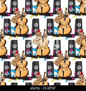 Nahtloses Muster eines Bären spielt einen Kontrabass in einer Haube Musik von Lautsprechern auf einem weißen isolierten Hintergrund. Vektorbild - Stockfoto