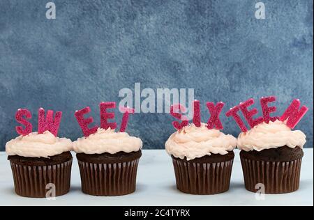 Schokolade Cupcakes mit rosa Glasur und die Worte süß sechzehn auf Tops. Nahaufnahme mit Kopierbereich. - Stockfoto