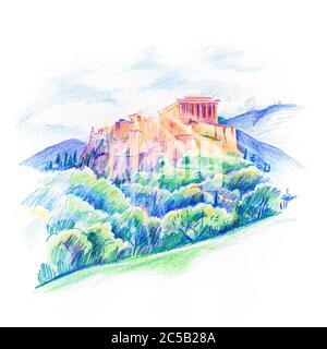 Farbstift Skizze von Akropolis Hügel, gekrönt mit Parthenon während der abendlichen blauen Stunde in Athen, Griechenland.