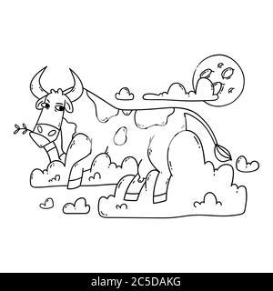 Kuh, die auf den Wolken ruht und den Mond anschaut. Entspannen und träumen. Lustig, Humor, Cartoon Tier Illustration. Umriss, schwarz-weiß illustratio - Stockfoto