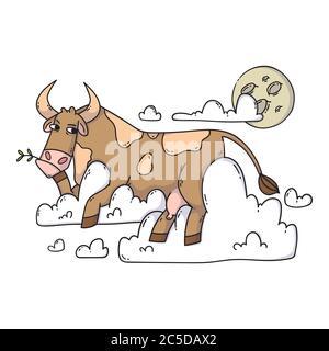 Kuh, die auf den Wolken ruht und den Mond anschaut. Entspannen und träumen. Lustig, Humor, Cartoon Tier Illustration. - Stockfoto