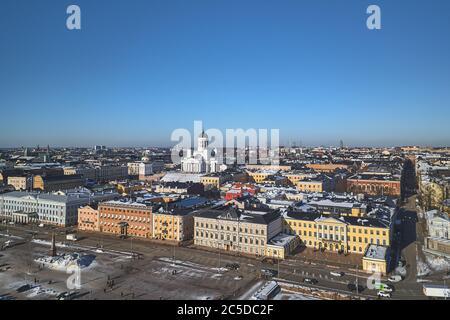 Luftaufnahme des historischen Zentrums von Helsinki, Präsidentenpalast, Finnland - Stockfoto