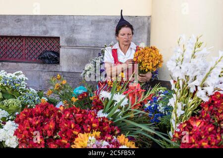 Blumenverkäufer in traditioneller Kleidung, Funchal, Madeira, Portugal - Stockfoto