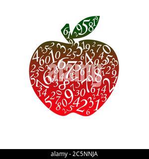 Viele Figuren in Form eines Apfels. Der isolierte weiße Hintergrund. - Stockfoto