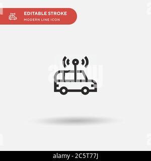Autonomes Auto einfaches Vektor-Symbol. Illustration Symbol Design Vorlage für Web mobile UI Element. Perfekte Farbe modernes Piktogramm auf bearbeitbaren Strich. Autonome Auto-Icons für Ihr Business-Projekt - Stockfoto