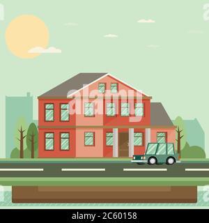 Wohnung Wohnhaus. Vektorgrafik. - Stockfoto
