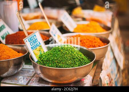 Canacona, Goa, Indien. Close Blick Auf Kokosnuss Green Masala, Leuchtend Grüne Farbe Duftende Gewürzmischung, Conditioning In Tablett Auf Lokalen Lebensmittelmarkt, Basar