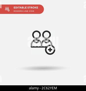 """Symbol für """"Benutzer hinzufügen"""". Illustration Symbol Design Vorlage für Web mobile UI Element. Perfekte Farbe modernes Piktogramm auf bearbeitbaren Strich. Fügen Sie Benutzersymbole für Ihr Geschäftsprojekt hinzu - Stockfoto"""