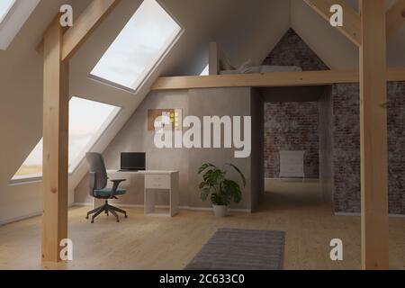 3d-Rendering von hellen Dachboden Home Office-Innenraum mit Dachbalken und Laminatboden