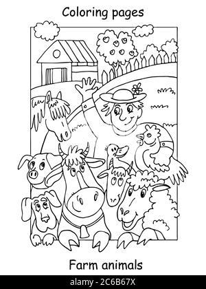 Vektor Malvorlagen mit glücklichen Landwirt und seine Nutztiere. Cartoon-Kontur-Illustration isoliert auf weißem Hintergrund. Abbildung für colori - Stockfoto