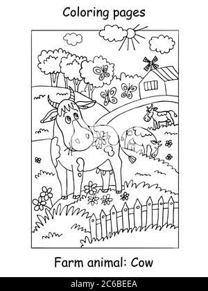 Vektor Malvorlagen mit niedlichen Kuh Gracing auf der Farm Wiese. Cartoon-Kontur-Illustration isoliert auf weißem Hintergrund. Abbildung für Colo - Stockfoto