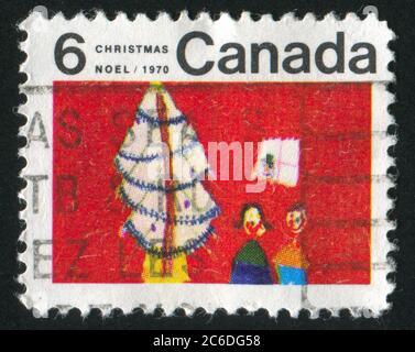 KANADA - UM 1970: Stempel gedruckt von Kanada, zeigt Weihnachtsbaum und Kinder, um 1970