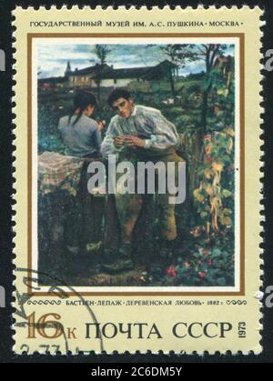 RUSSLAND - UM 1973: Briefmarke gedruckt von Russland, zeigt Junge Liebe, von Jules Bastien-Lepage, um 1973