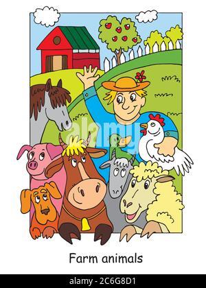 Malvorlagen mit glücklichen Landwirt und seine Nutztiere. Cartoon Vektorgrafik. Stock Illustration für Design, Vorschulbildung, Druck und Spiel - Stockfoto