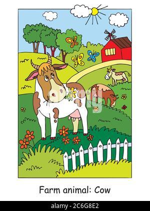 Malvorlagen mit niedlichen Kuh Gracing auf der Farm Wiese. Cartoon Vektorgrafik. Stock Illustration für Design, Vorschulbildung, Print und ga - Stockfoto