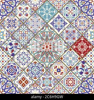 Nahtlos farbiges Patchwork. Mosaikfliesen. Vintage-Multicolor-Muster im türkischen Stil. Handgezeichneter Hintergrund. Islam, Arabisch, Indisch, Ottomane Motive - Stockfoto