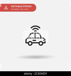 Autonomes Auto einfaches Vektor-Symbol. Illustration Symbol Design Vorlage für Web mobile UI Element. Perfekte Farbe modernes Piktogramm auf bearbeitbaren Strich. A - Stockfoto