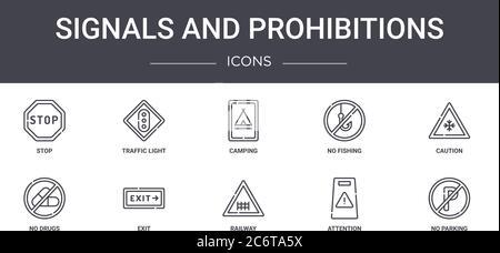 Signale und Verbote Konzept Linie Symbole gesetzt. Enthält Symbole für Web, Logo, ui/ux wie Ampel, keine Fischerei, keine Drogen, Bahn, atte - Stockfoto
