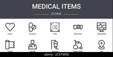 Medizinische Artikel Konzept Linie Symbole Set. Enthält Symbole für Web, Logo, ui / ux wie keine Medikamente, Projektor, Gewebe, Infusion, Rollstuhl, Stift, Karte - Stockfoto