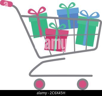 Einfacher flacher Einkaufswagen oder Trolley voller farbenfroher Geschenkboxen mit Schleife. Kauf weihnachtsgeschenk oder Online-Verkauf Konzept. Vektor EPS10-Illust - Stockfoto