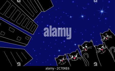 Eine Packung niedlicher schwarzer Katzen in der Stadt. Stadt gegen den Sternenhimmel. Menge Niedliches Haustier schwarz. Vektorgrafik in flach. - Stockfoto
