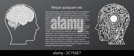 Human Brain Mind mit künstlicher Intelligenz Roboter Kopf Konzept Vektor Illustration - Stockfoto