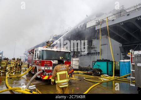 San Diego, Usa. Juli 2020. Hubschrauber und Feuerwehrleute bekämpfen ein Feuer an Bord des US Navy Amphibious Assault Schiffes die USS Bonhomme Richard auf der Naval Base San Diego, 13. Juli 2020 in San Diego, Kalifornien. Mehr als 20 Menschen erlitten nach der Explosion am 12. Juli leichte Verletzungen, als die Feuerwehrleute den Brand weiter bekämpfen. Kredit: MC1 Omar Powell/U.S. Navy/Alamy Live News