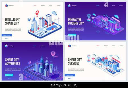 Isometrische Smart City iot Technologie Vektor Illustration. Kreatives modernes Konzept Bannerset, Website-Design mit Cartoon 3d Karte der Stadtlandschaft mit Cyber-Infrastruktur, künstliche Intelligenz Kontrolle