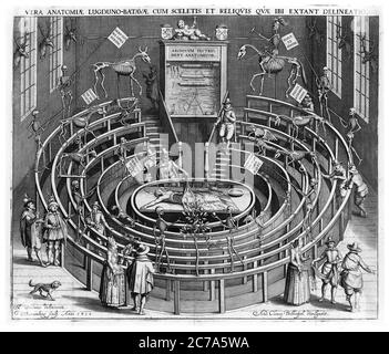 LEIDEN ANATOMISCHES THEATER IM JAHR 1610. - Stockfoto