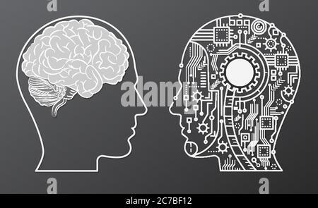 Human Brain Mind Head mit künstlicher Intelligenz Roboter Kopf Konzept Illustration - Stockfoto