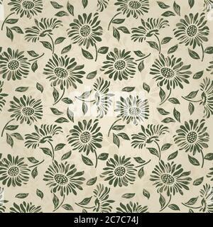 Nahtloses Blumenmuster im Folk-Stil mit Wildblumen, Blättern. Von Hand gezeichnet. Vektorgrafik - Stockfoto