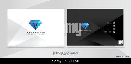 Visitenkartenvorlage mit Firmenlogo im CMYK-Modus, mit Barcode, druckfertig und vollständig edi