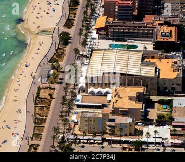 Luftbild, geschlossener großer Disco-Mega-Park, Strand von Arenal mit Balneario 5, Balneario 6, Balneario 5, S'arenal, Arenal, Ballermann, Europa, Balearen I - Stockfoto