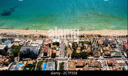 Luftbild, Arenal Strand mit Balneario 5, Balneario 6, Balneario 5, S'arenal, Arenal, Ballermann, Europa, Balearen, Spanien, Palma, es, Trave - Stockfoto