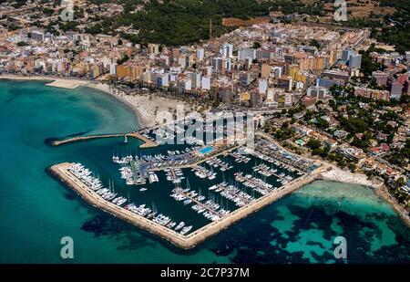 Luftaufnahme, Blick auf den Hafen von Arenal mit Strand und Bucht, S'arenal, Arenal, Ballermann, Europa, Balearen, Spanien, Llucmajor, es, Reise, Tour - Stockfoto