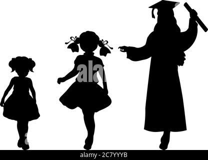Silhouette des Absolventen aufwachsen. Baby Mädchen junge Frau - Stockfoto