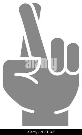 Wunsch nach Glück graue Ikone. Symbol für gekreuzte Finger - Stockfoto