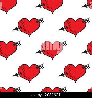Herz mit Pfeil, handgezeichnete Doodle-Illustration, nahtloses Musterdesign auf weißem Hintergrund