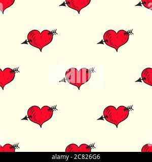 Herz mit Pfeil, handgezeichnete Doodle-Illustration, nahtloses Musterdesign auf weichem gelben Hintergrund