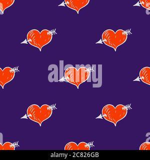 Herz mit Pfeil, handgezeichnete Doodle-Illustration, nahtloses Musterdesign auf dunkelblauem Hintergrund